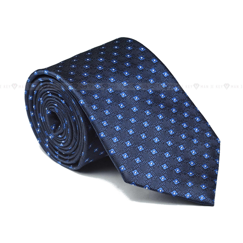 Галстук мужской синий в голубой узор