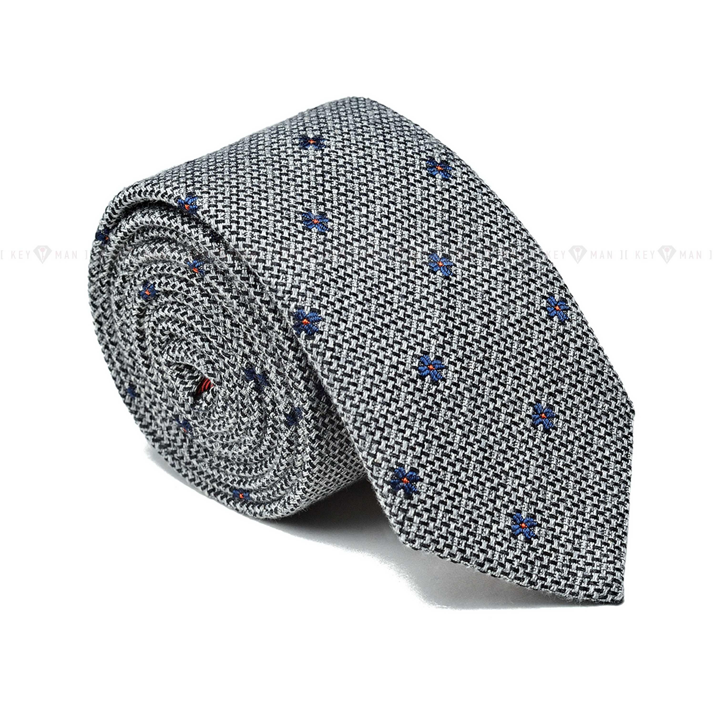 Галстук мужской серый в синий узор (итальянский хлопок)