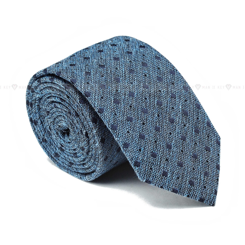 Галстук мужской голубой в синий узор (итальянский хлопок)