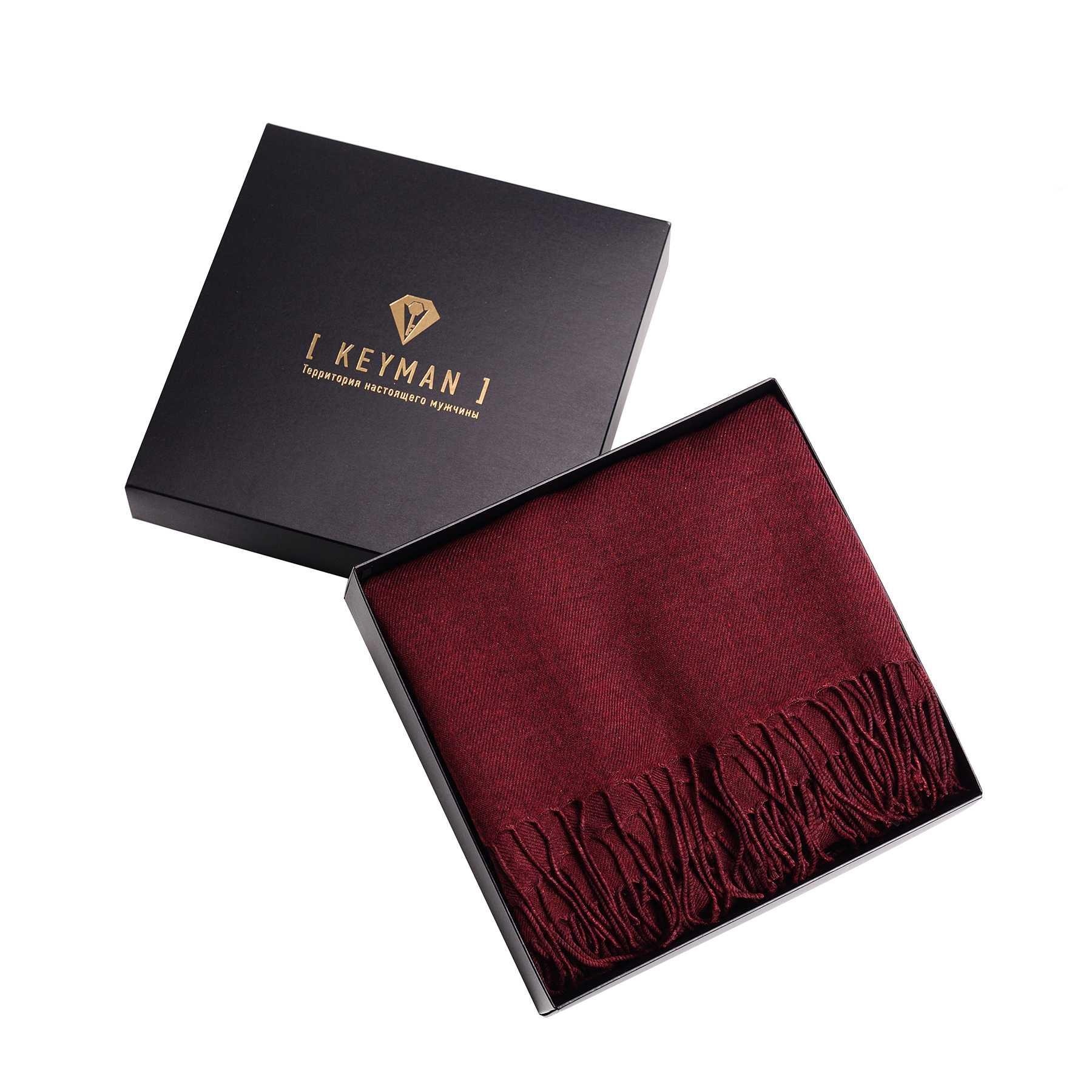 Шарф мужской бордовый однотонный (ткань меланж)