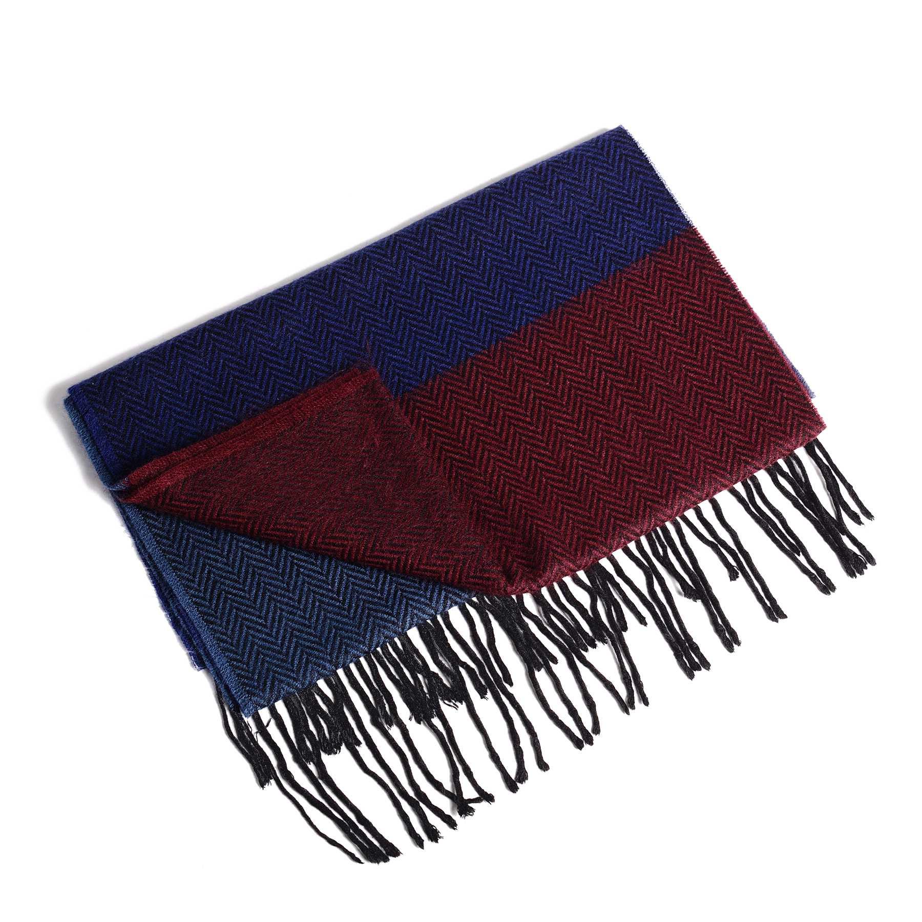 Шарф мужской трехцветный ( синий, голубой, бордовый) в елочку