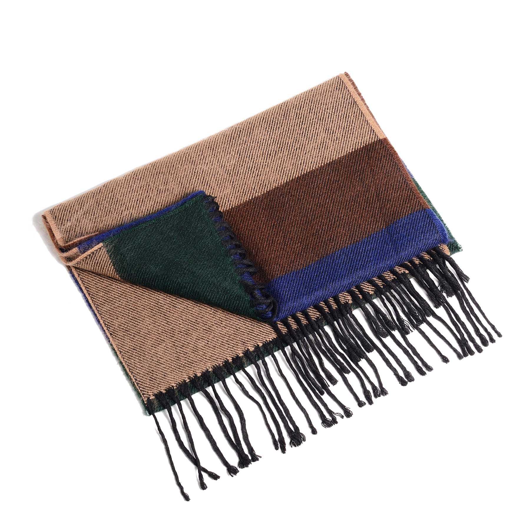 Шарф мужской четырехцветный (бежевый, коричневый, синий, зеленый)