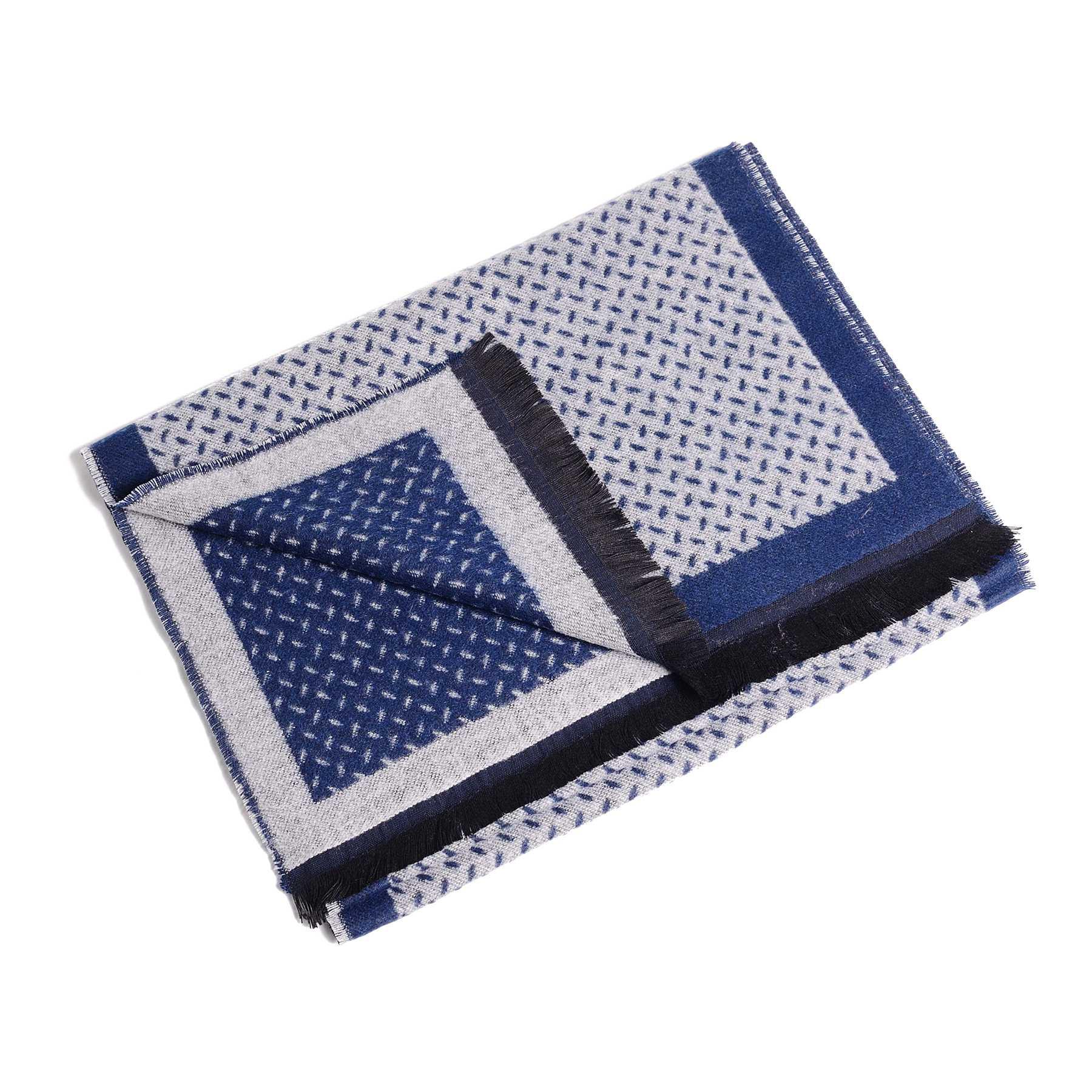 Шарф мужской светло-серый с синим в мелкий узор (двухсторонний)