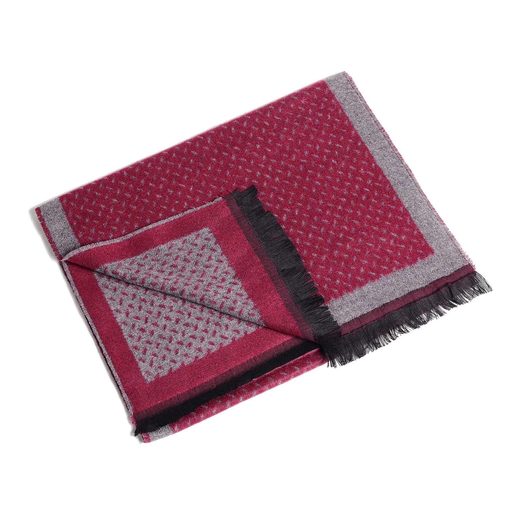 Шарф мужской серо-рубиновый в мелкий узор (двухсторонний)
