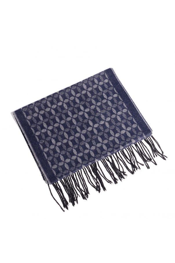 Шарф мужской серо-синий в цветочный узор (двухсторонний)