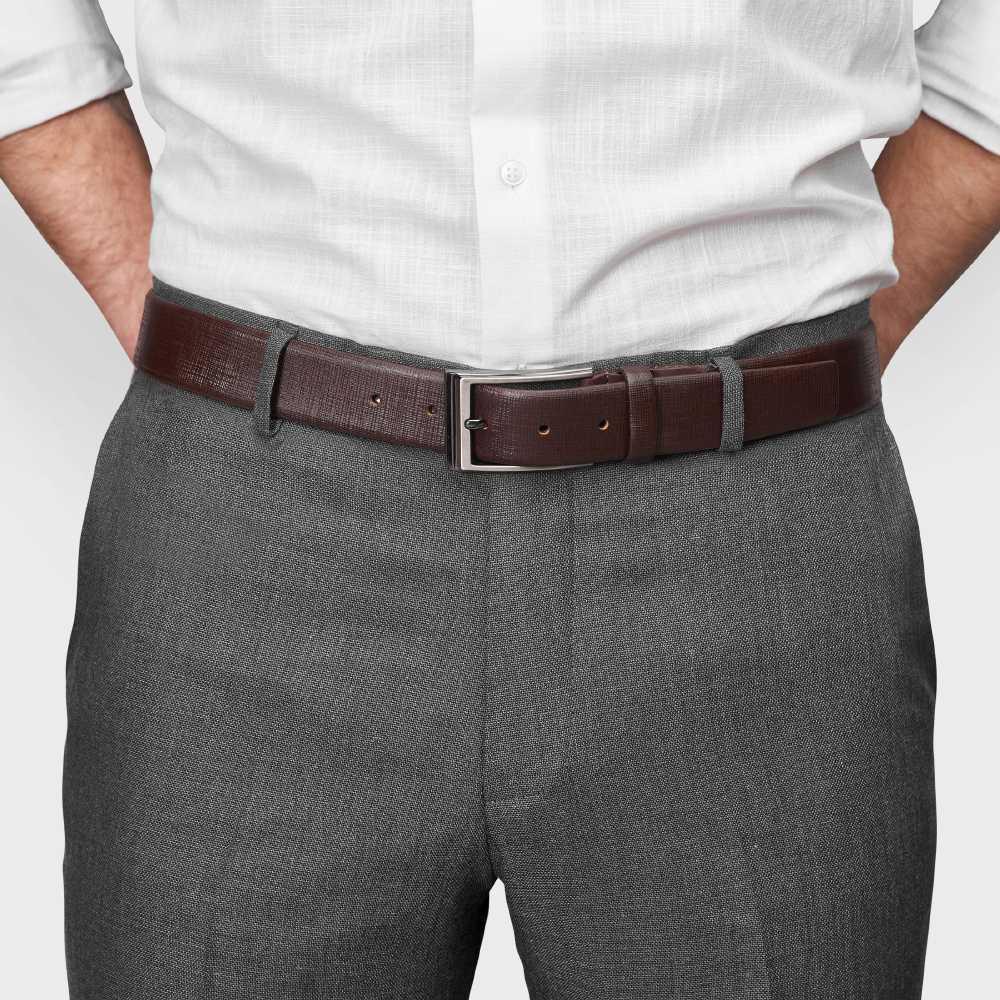 Ремень мужской коричневый, фактурный