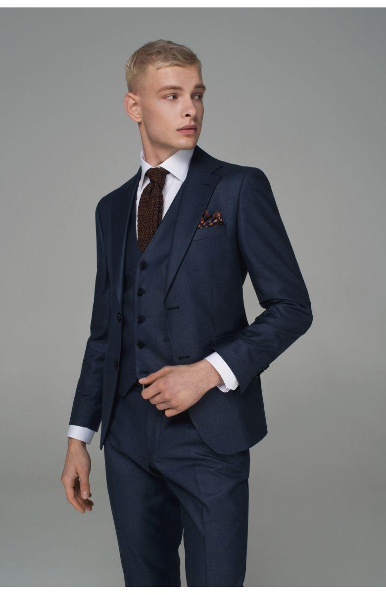 Костюм мужской синий с коричневой ниткой в фактуре