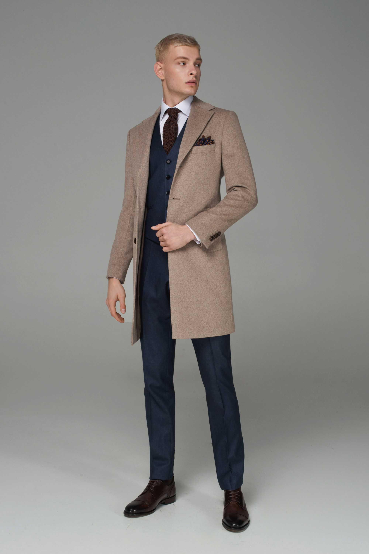 Пальто мужское демисезонное бежевое меланж