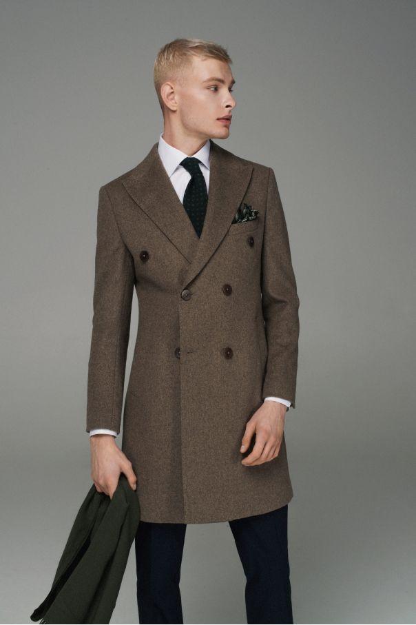 Пальто мужское двубортное темно-бежевое меланж