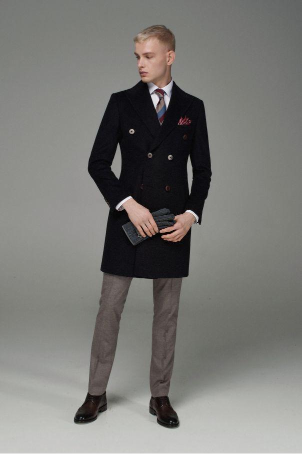 Пальто мужское двубортное темно-коричневое меланж
