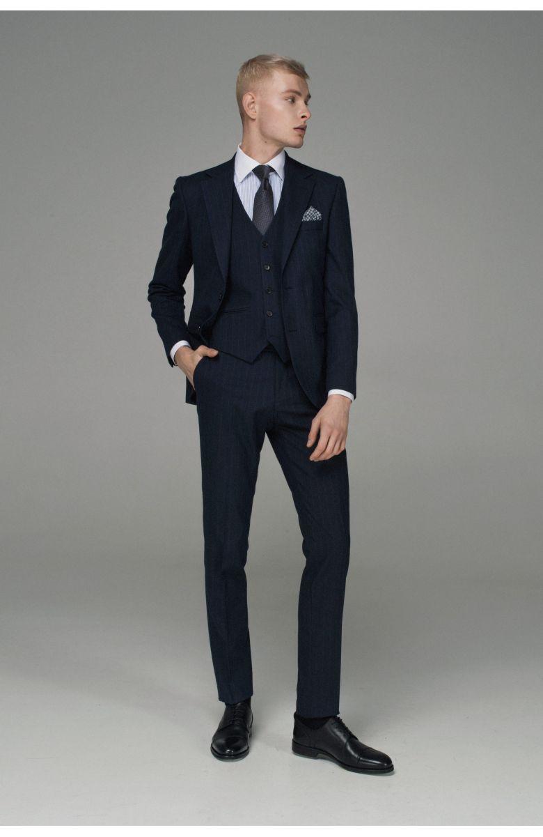 Комплект на свадьбу  с синим костюмом в серую полоску (костюм тройка, рубашка, ремень, туфли, галстук, платок)