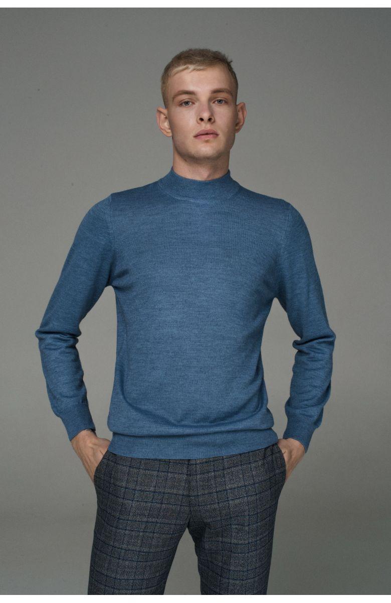 Гольф мужской голубой, итальянская шерсть