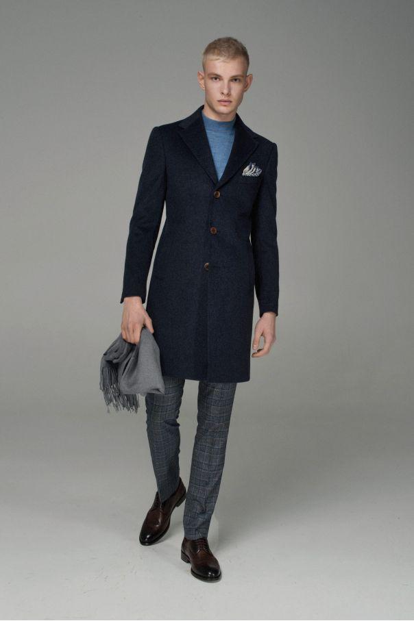 Пальто мужское демисезонное синее меланж