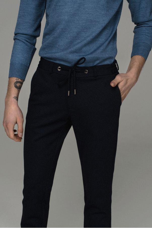 Брюки мужские синие в светлую точку на резинке со шнурком