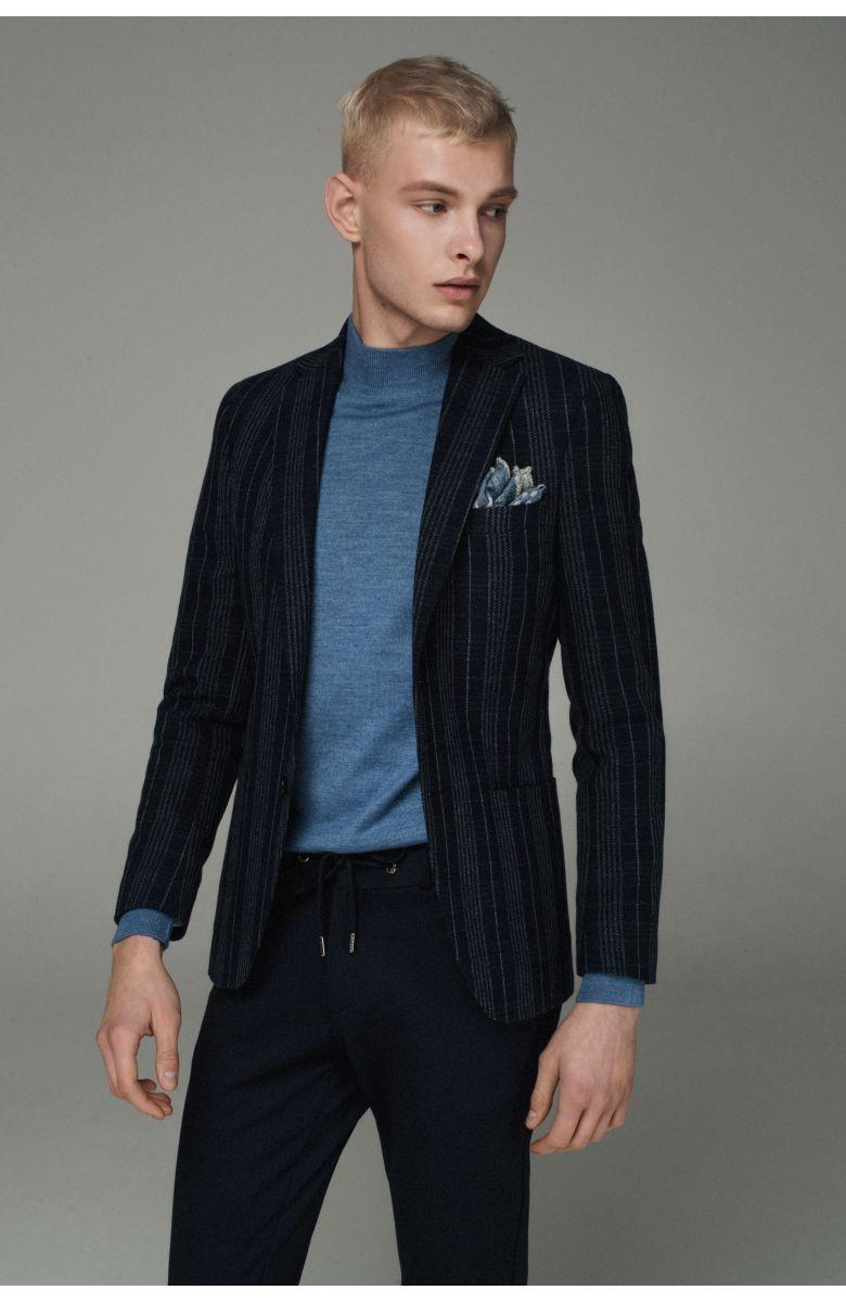 Пиджак мужской темно-синий в серую клетку
