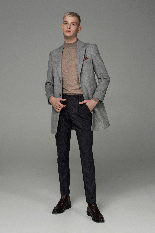 Пальто мужское, утепленное синтепоном, светло-серое