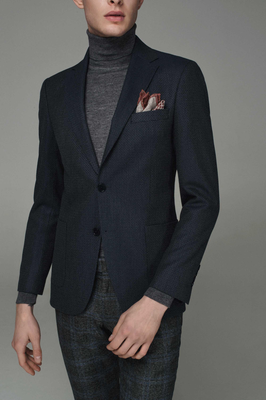 Пиджак мужской сине-серый фактурный
