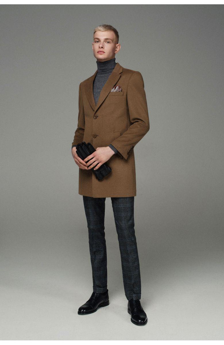 Пальто мужское утепленное синтепоном, темно-бежевое