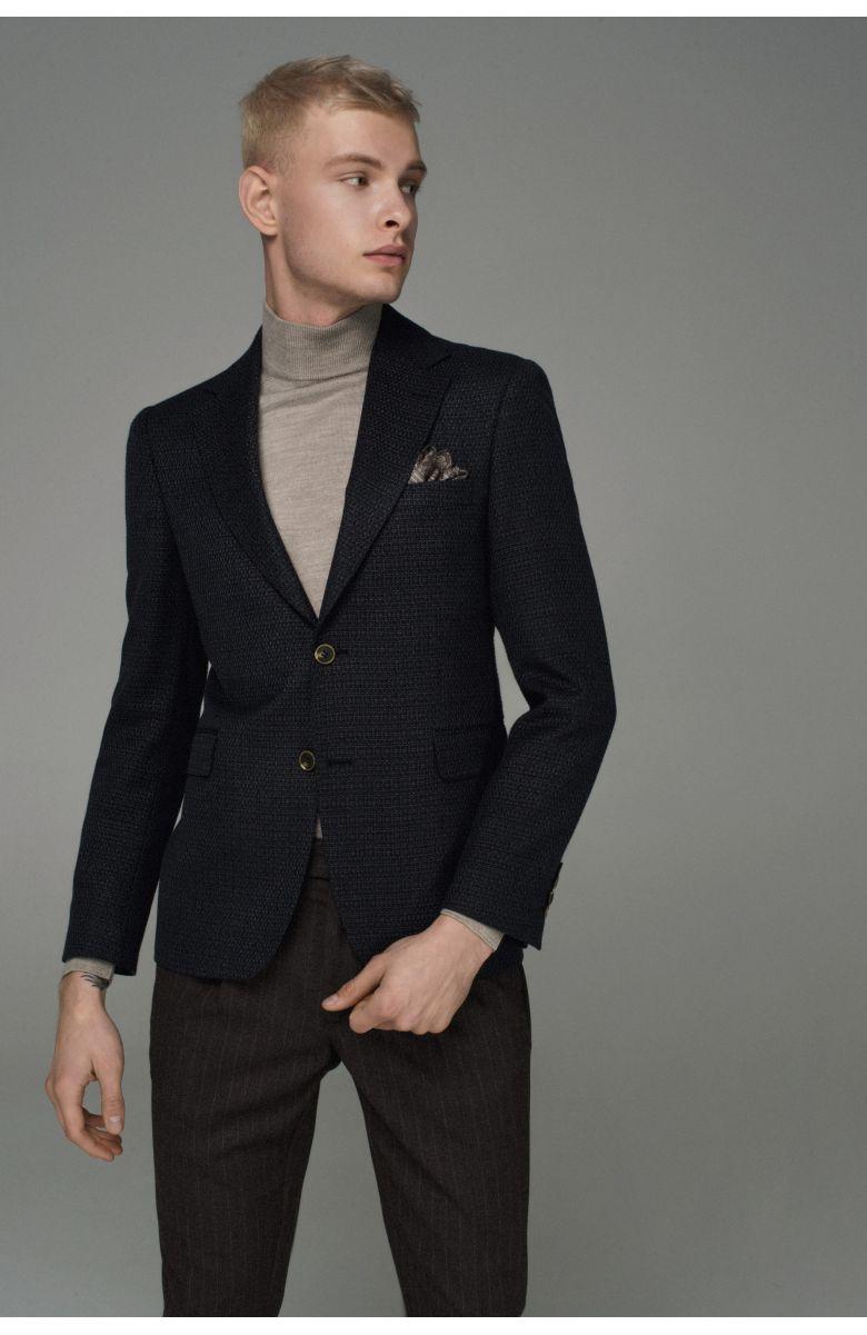 Пиджак мужской синий с коричневой ниткой