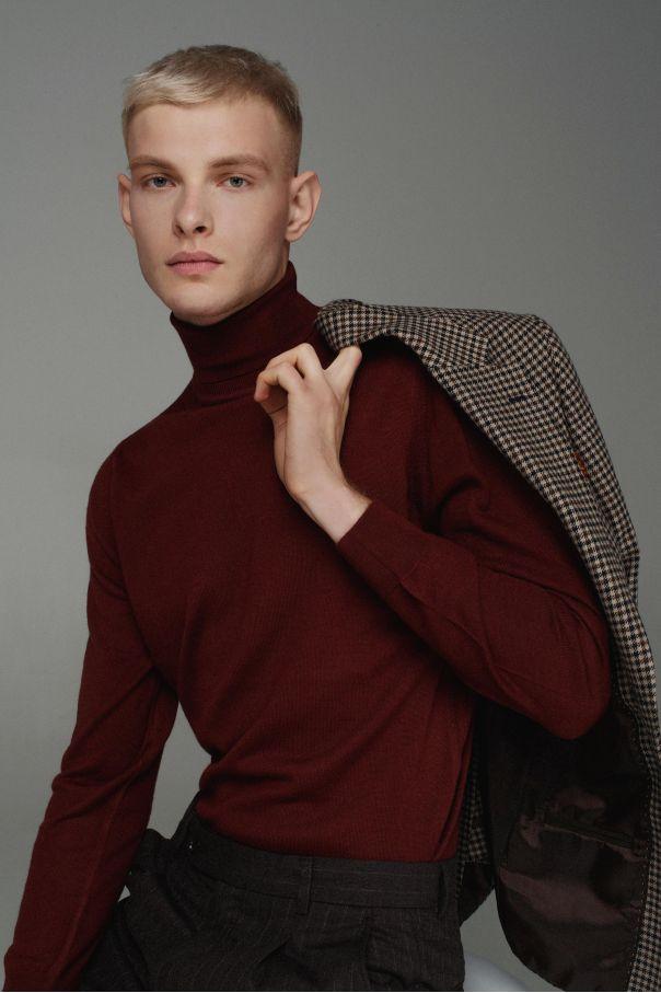 Пиджак мужской бежево-коричневый в гусиную лапку