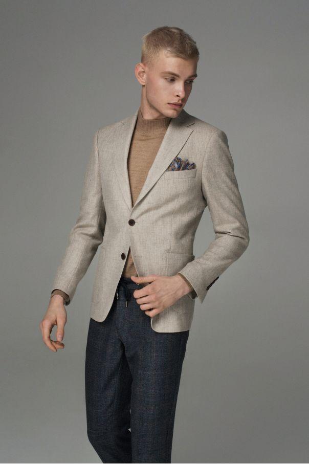 Пиджак мужской бежево-серый меланж с накладными карманами