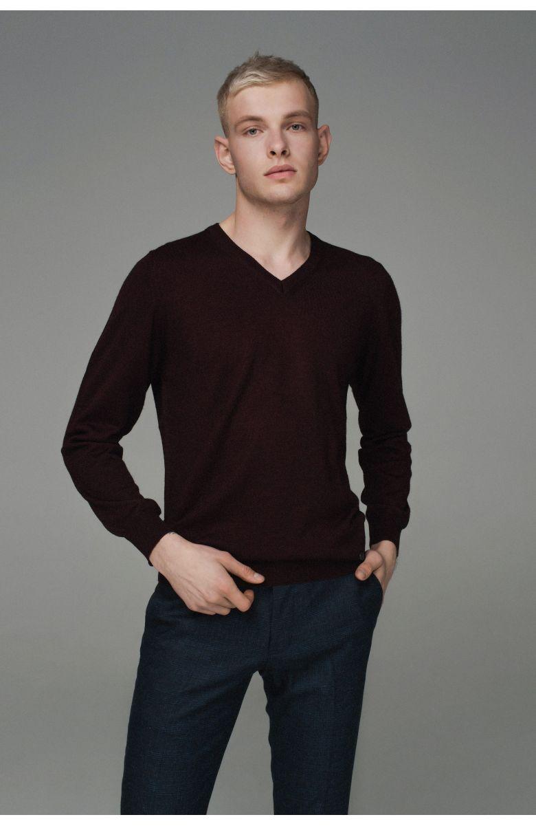 Джемпер мужской бордовый, итальянская шерсть, v-образный вырез