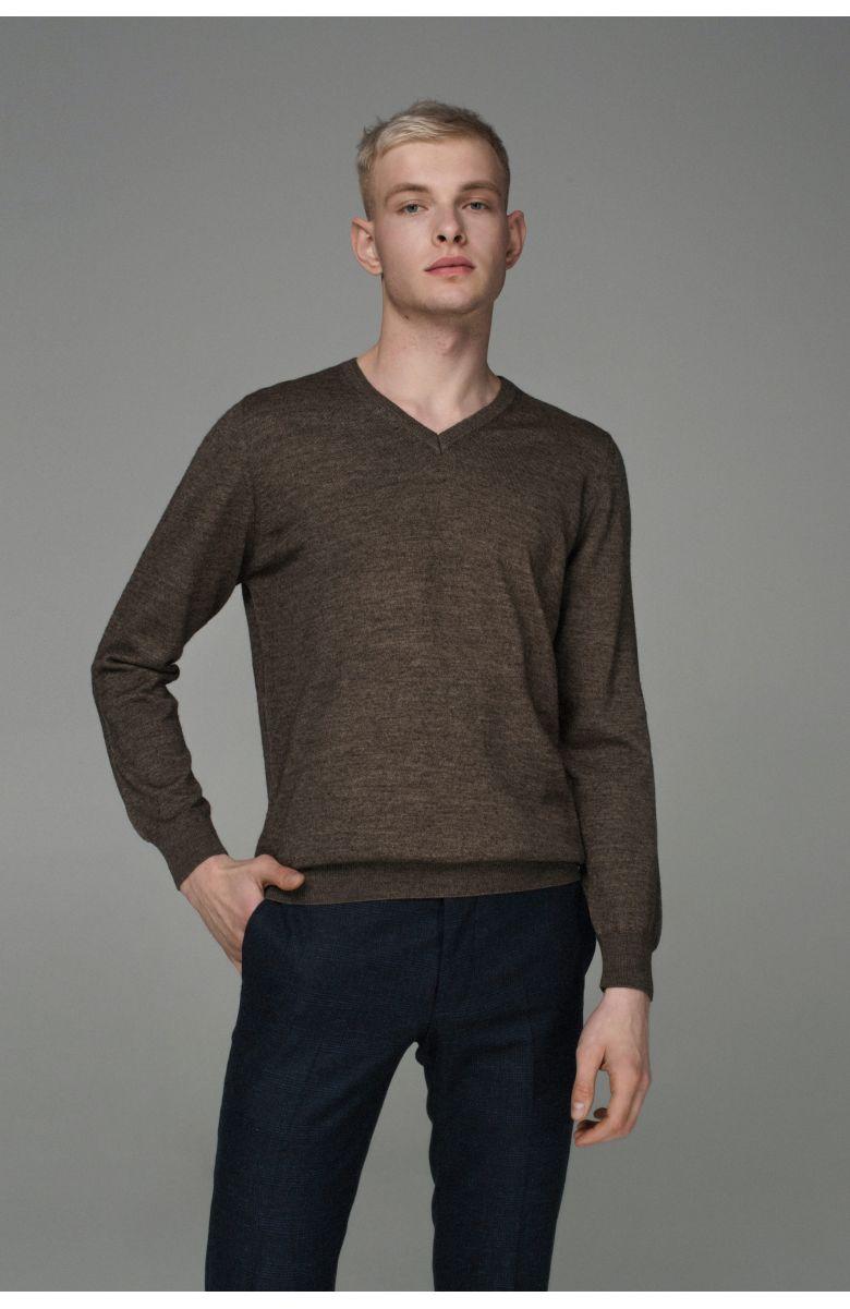 Джемпер мужской коричневый, итальянская шерсть, v-образный вырез