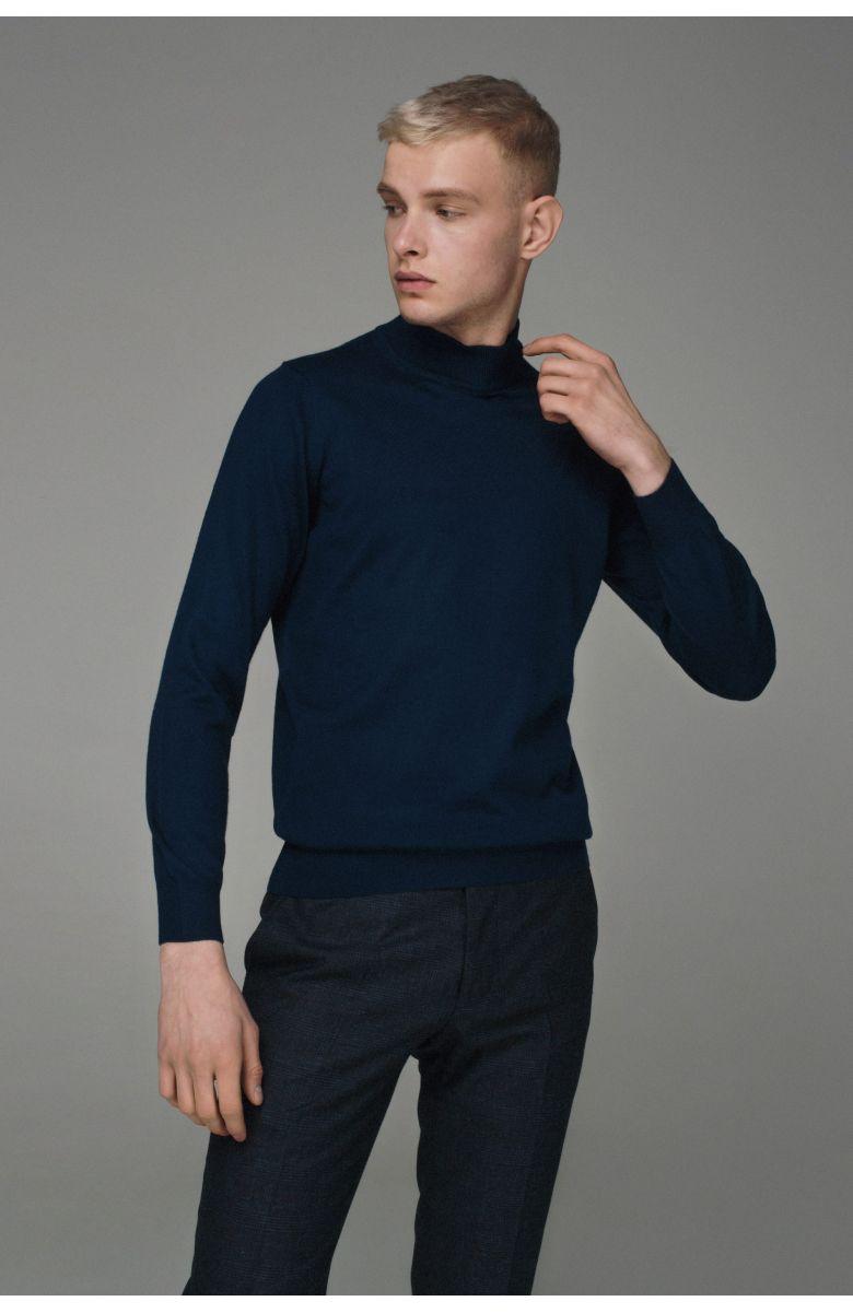 Гольф мужской синий, итальянская шерсть