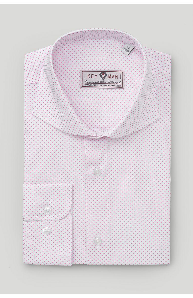 Рубашка мужская белая в розовый квадратный узор с лайкрой, акула воротник