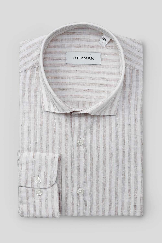 Рубашка мужская белая из хлопка и льна в широкую бежевую полоску