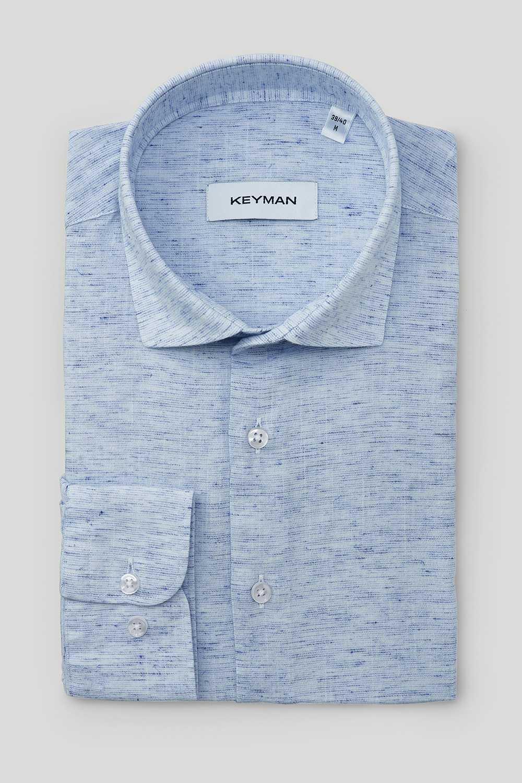 Рубашка мужская синяя фактурная с эластаном, медиум классика воротник