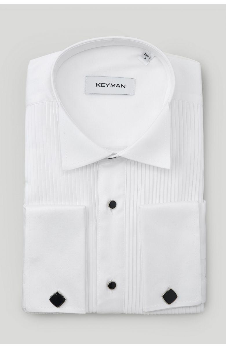 Рубашка мужская белая под смокинг c эластаном, черные пуговицы, широкое плиссе, под бабочку