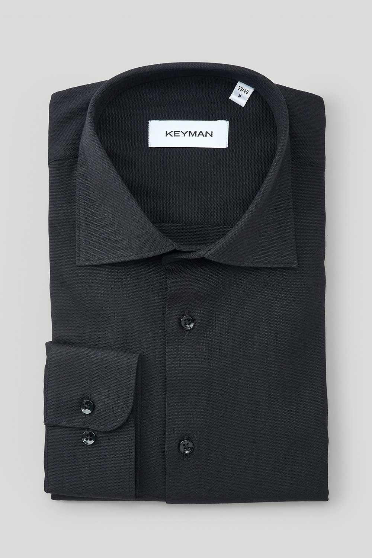 Рубашка мужская черная оксфорд с лайкрой, классика воротник
