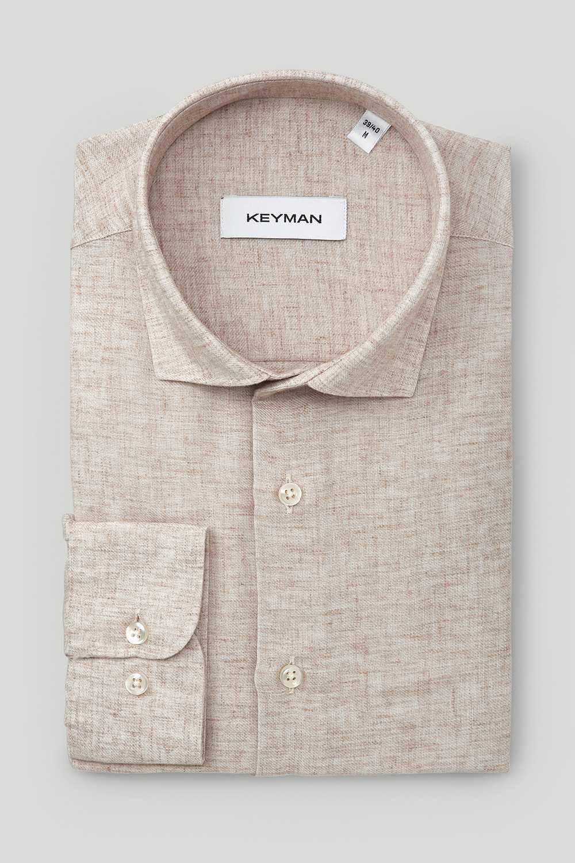 Рубашка мужская темно-бежевая из хлопка и льна с рельефным узором