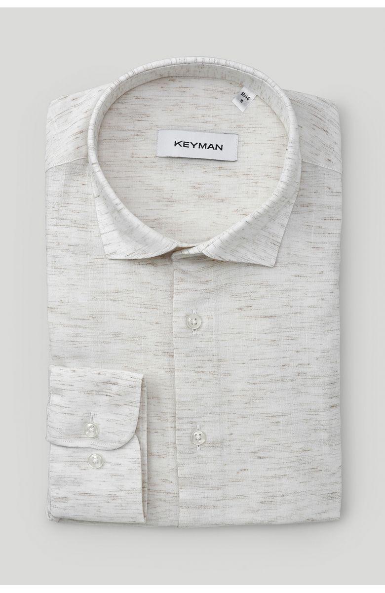 Рубашка мужская бежевая фактурная с эластаном, медиум классика воротник