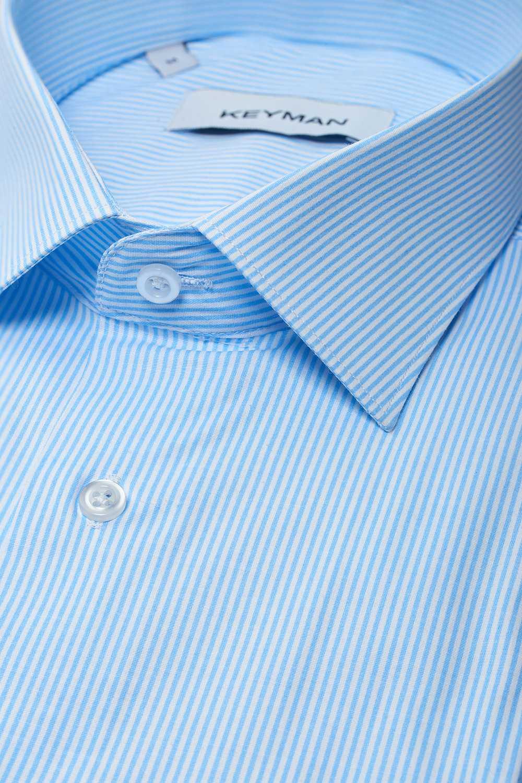 Рубашка мужская голубая в узкую полоску