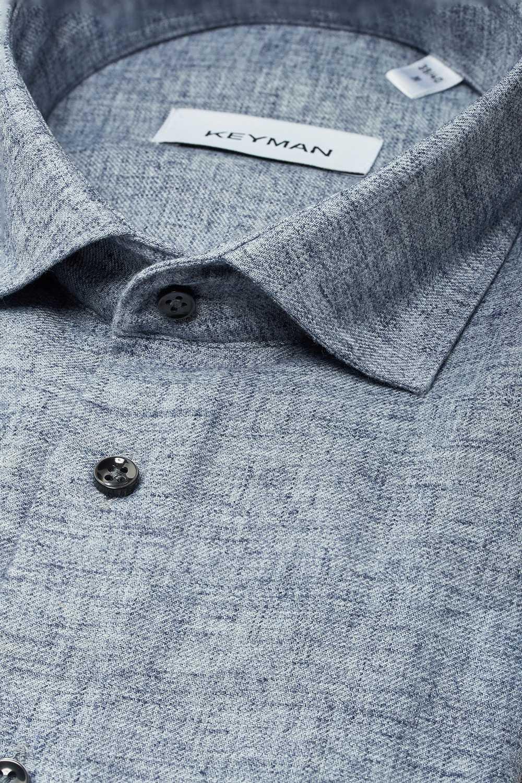 Рубашка мужская синяя из хлопка и льна с рельефным узором