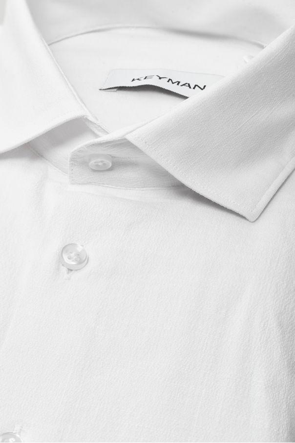 Рубашка мужская белая фактурная с эластаном