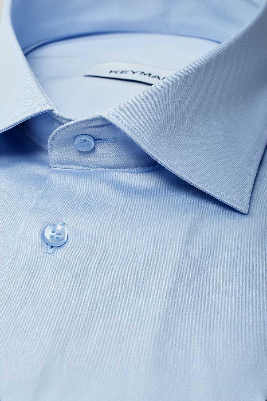 Рубашка мужская голубая сатин с эластаном