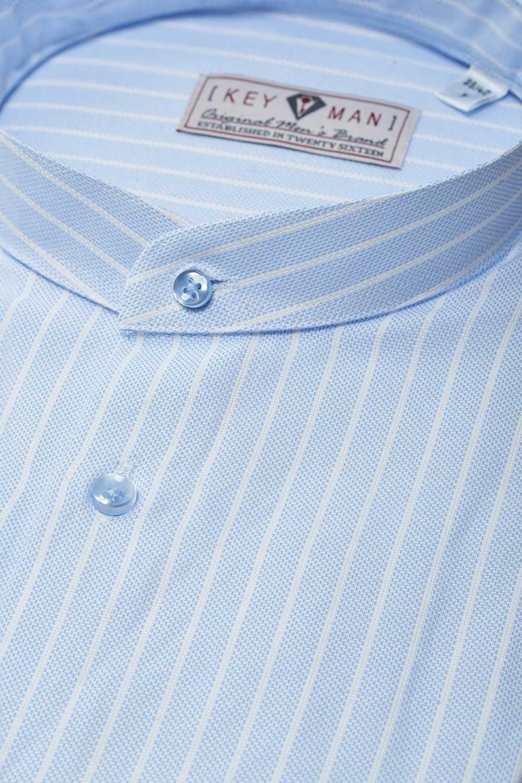 Рубашка мужская голубая фактурная в белую полоску, воротник стойка
