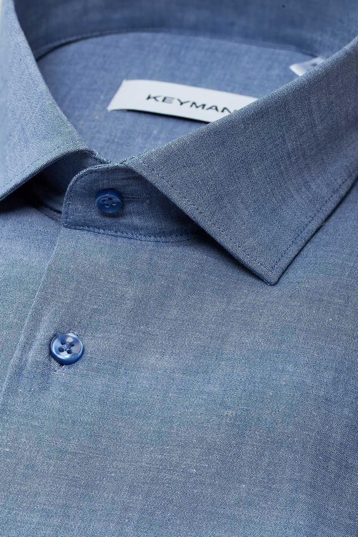"""Рубашка мужская синяя, ткань под """"джинс"""""""