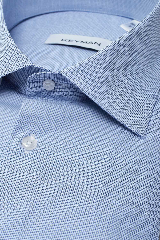 Рубашка мужская синяя в мелкую клетку с эластаном