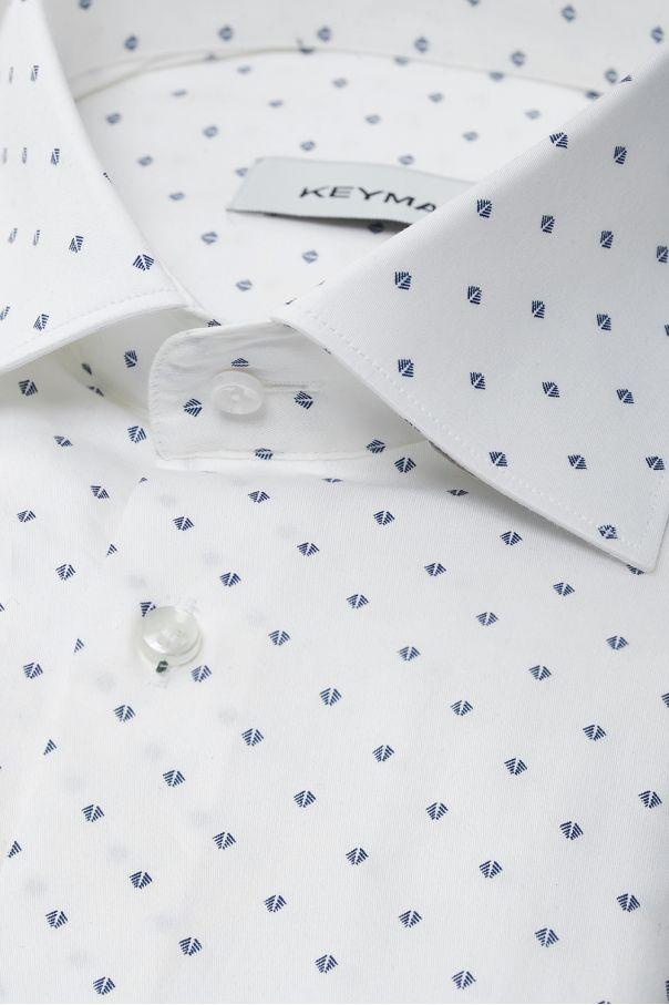 Рубашка мужская белая в мелкий цветочный рисунок с эластаном