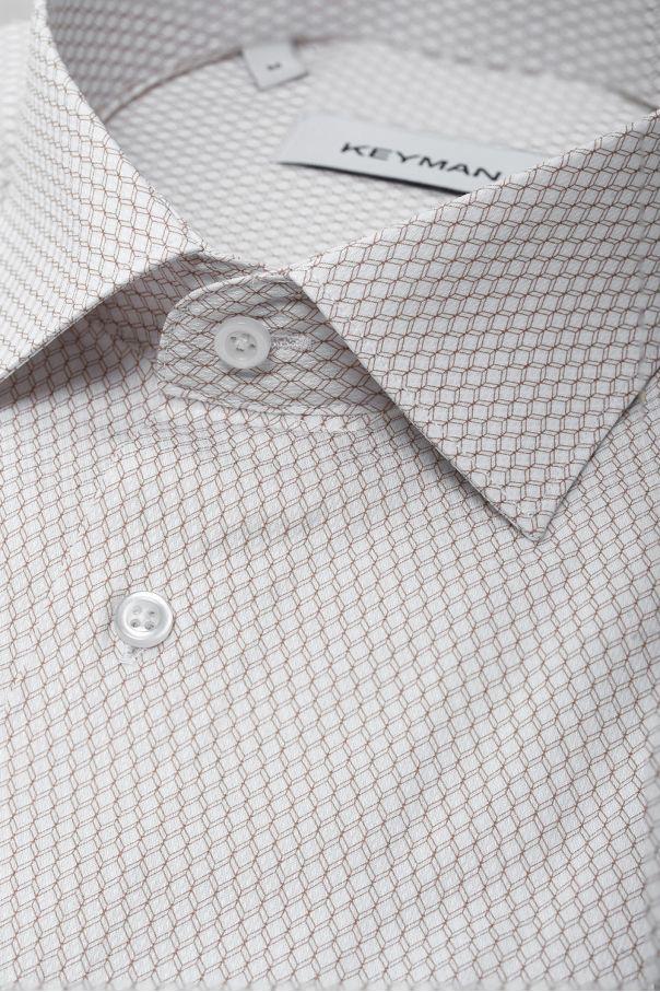 Рубашка мужская белая в бежевый ромбический узор