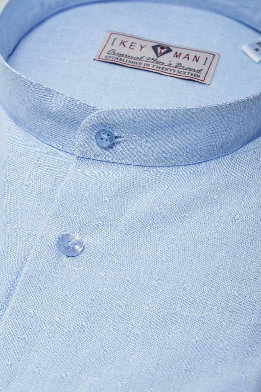 Рубашка мужская светло-голубая в мелкие фактурные квадраты, воротник стойка
