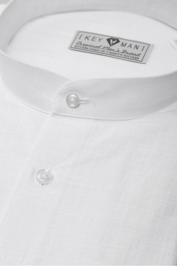 Рубашка мужская белая ткань под лен, воротник стойка