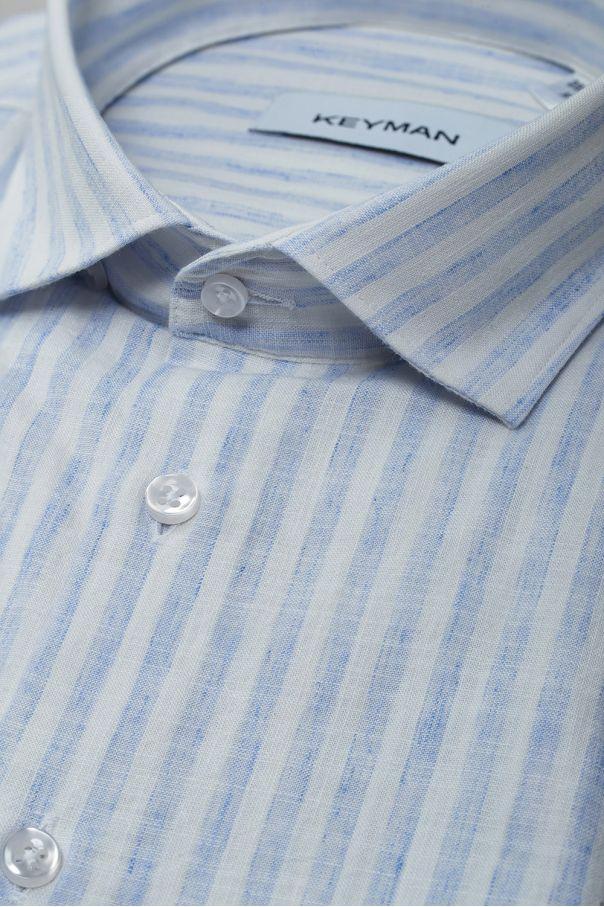 Рубашка мужская белая из хлопка и льна в широкую голубую полоску