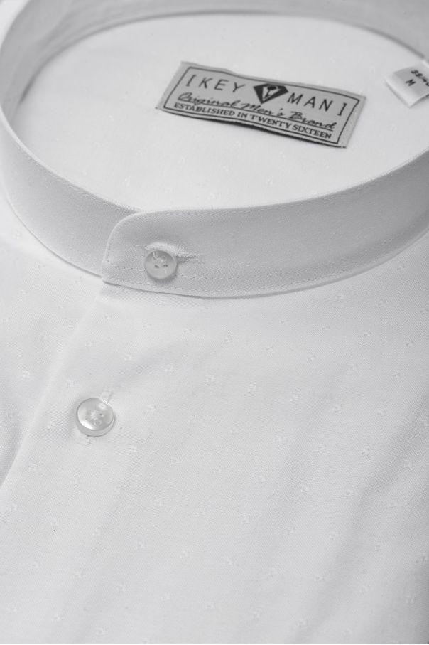 Рубашка мужская белая в мелкие фактурные квадраты, воротник стойка