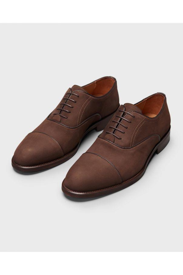 Туфли мужские оксфорды коричневые с отрезным мысом, нубук