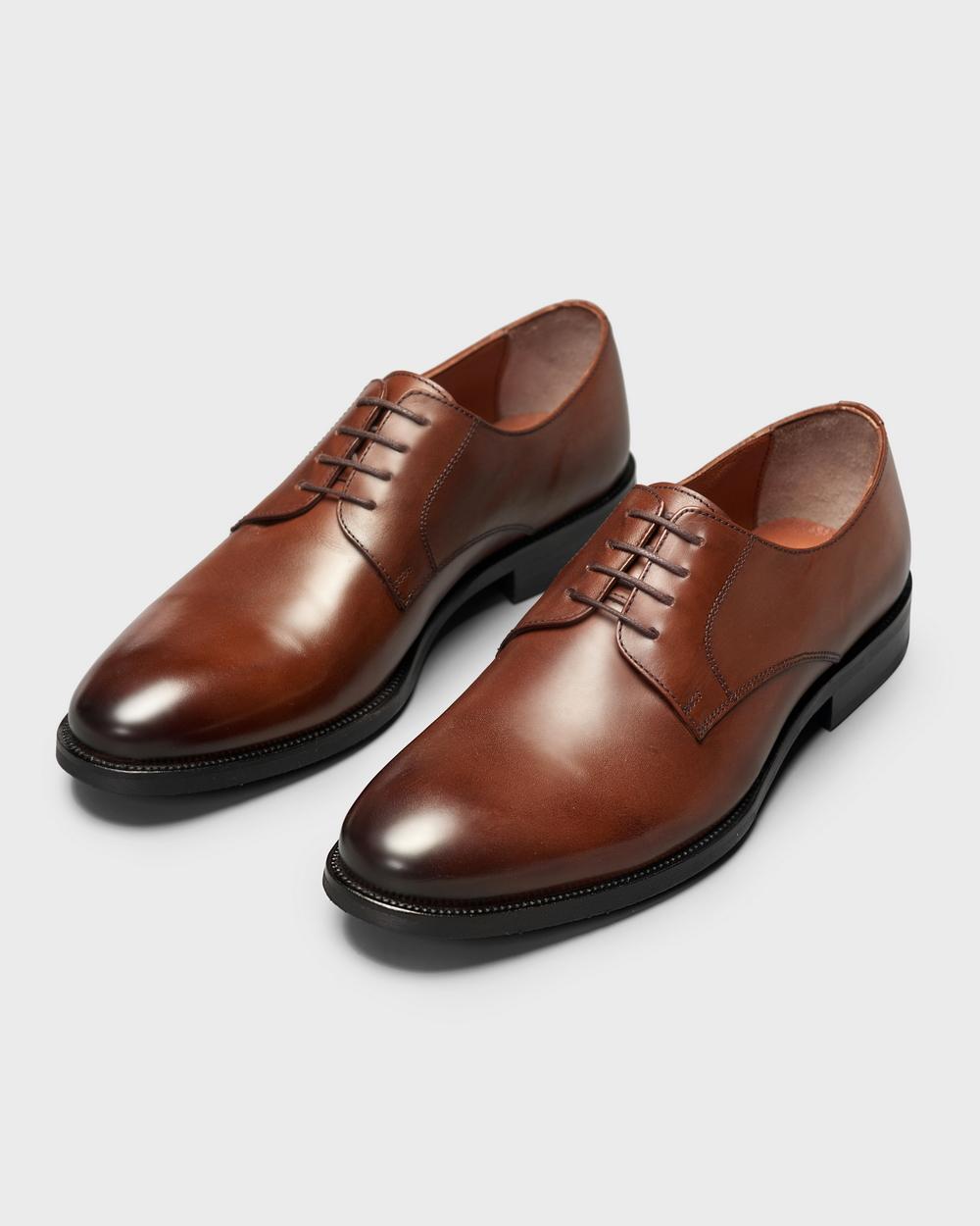 Туфли мужские дерби классические коричневые на каучуковой подошве